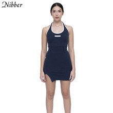 Nibber fashion Basic cotton lace up mini dresses womens summer new black Slim Soft home wear street casual bodycon dresses mujer