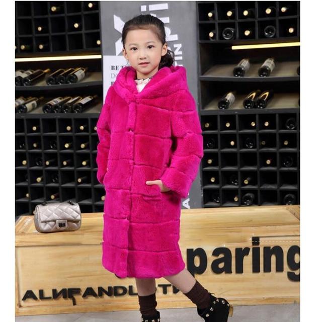 Kids Natual Whole Rabbit Fur Coat Autumn Winter Children Warm Fur Long Coat Hooded Coat Baby Grils Fur V-Neck Outerwear CoatC#10