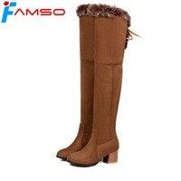 2018 אופנה חדשה FAMSO מגפיים גבוהים הברך נשים מגפיים שחור חום נעלי עקבים עבים ציצית חורף רוסיה לשמור על מגפי שלג חמים נעל