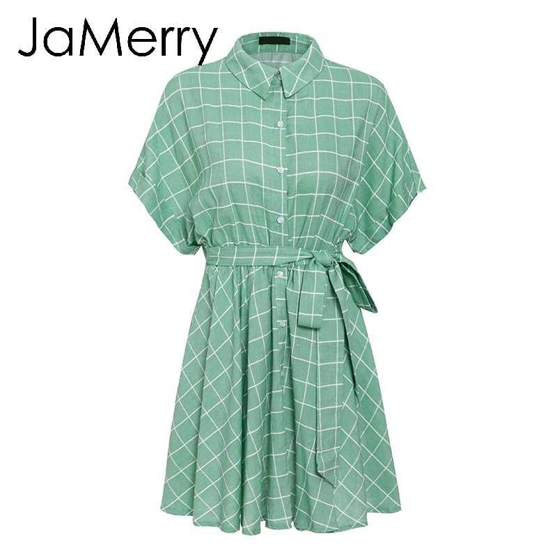 JaMerry винтажное элегантное клетчатое платье с поясом женское платье с коротким рукавом ТРАПЕЦИЕВИДНОЕ повседневное уличная женское Короткое платье на пуговицах летнее платье