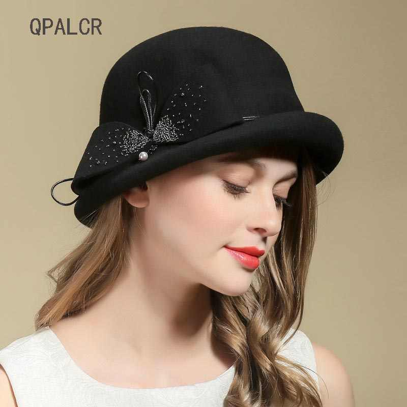 d9b7df251ca4c QPALCR Vintage Top Hat For Women s Fedora Hat Elegant Ladies Bow Wool Felt  Hats Dinner Party