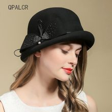 0f09c0aa6352d7 QPALCR Vintage Top Hat For Women's Fedora Hat Elegant Ladies Bow Wool Felt  Hats Dinner Party