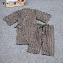 Pyjamas Men sleepwear kimono bathrobe short-sleeve 100% cotton half pants lounge Pajama Set