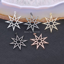 10PCS ZYZ152-7207 Star CZ Micro pave pendant for necklace, Sparkly CZ micro paved Design Star & Round Pendant(China)