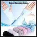 Sección condujo UV protector solar Medio Dedo Cuff Mangas Del Brazo de Protección Solar Protección de las Manos de Las Mujeres y Los Hombres Al Aire Libre Guantes Sin Dedos Largos