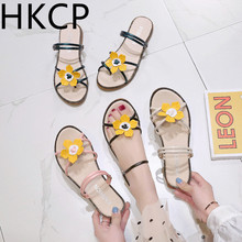 HKCP 2019 summer womens fashion flower wear two open-toe student sandals non-slip soft-soled beach shoes C314