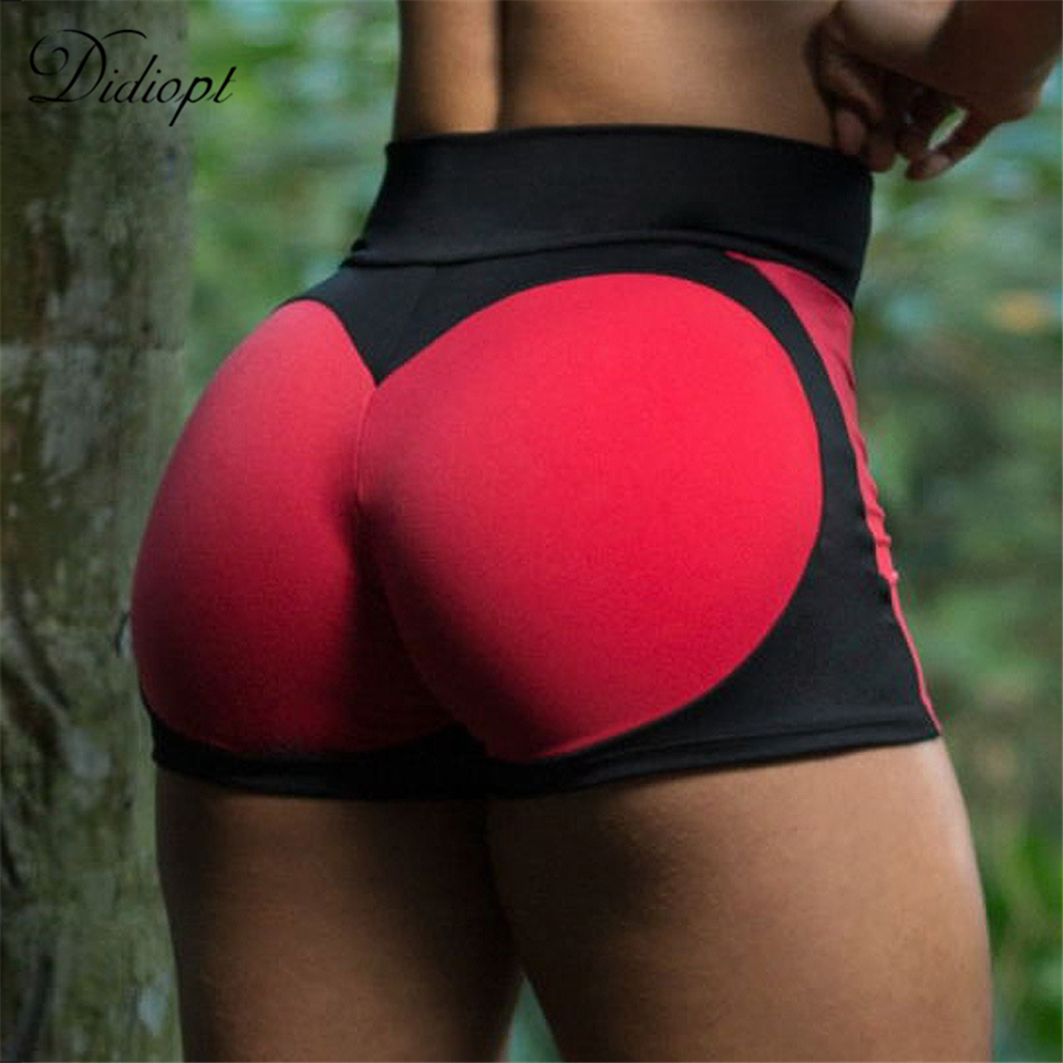 Didiopt 2018 New Woman Sport Tight Shorts Love Pattern Lady Tight Waist Pants Woman Sexy Sport Pants Red And Yellow Color P9754E брюки accelerate tight