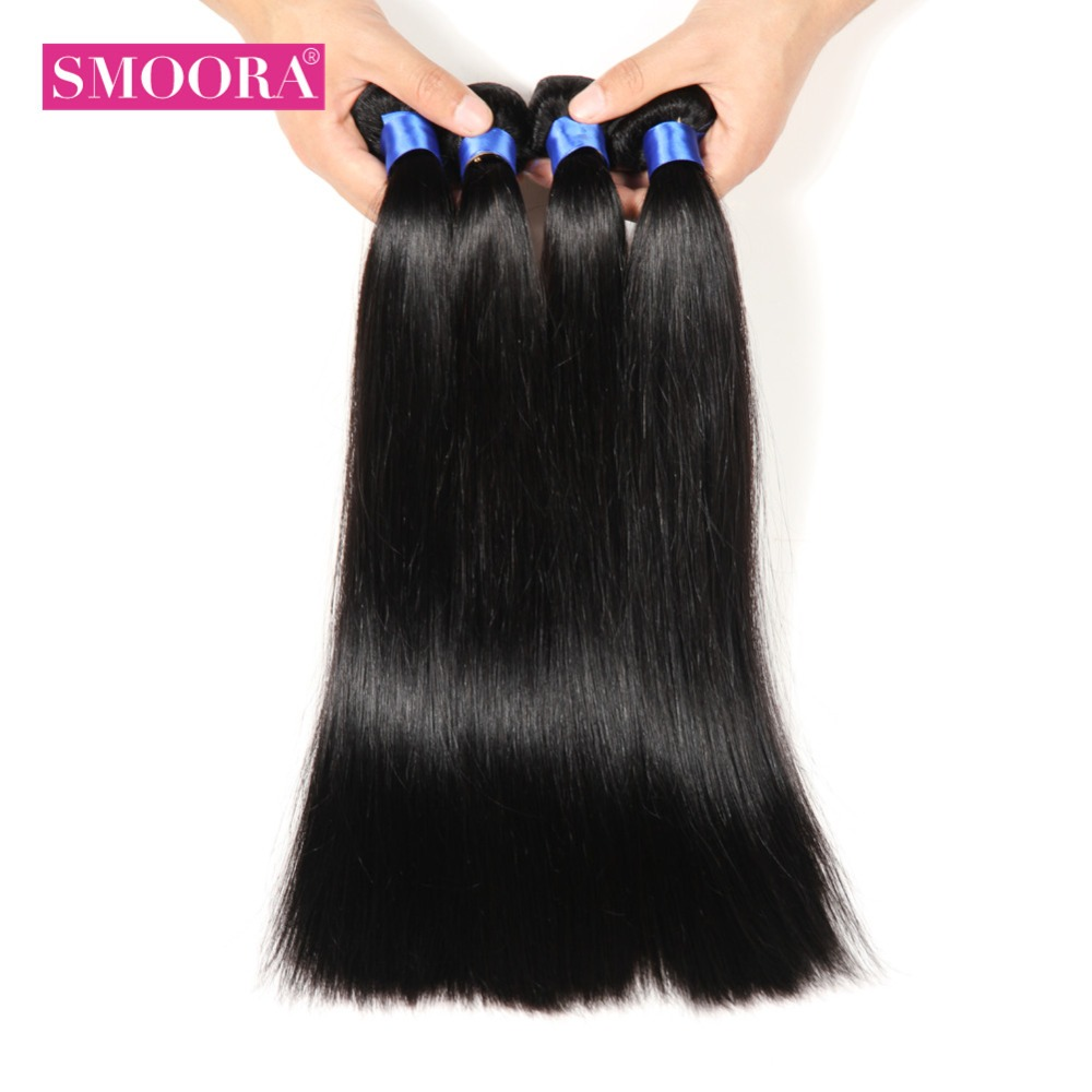 SMOORA HAIR Peruvian Straight Hair Bundles 4 PCS/ Lot Can Mix Length Natural Color Non Remy Human Hair Weave Bundles Natural