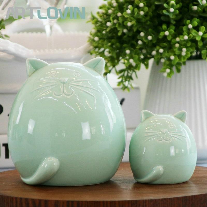 Cute Ceramic Miniature Cat Green Figurines Vintage Home