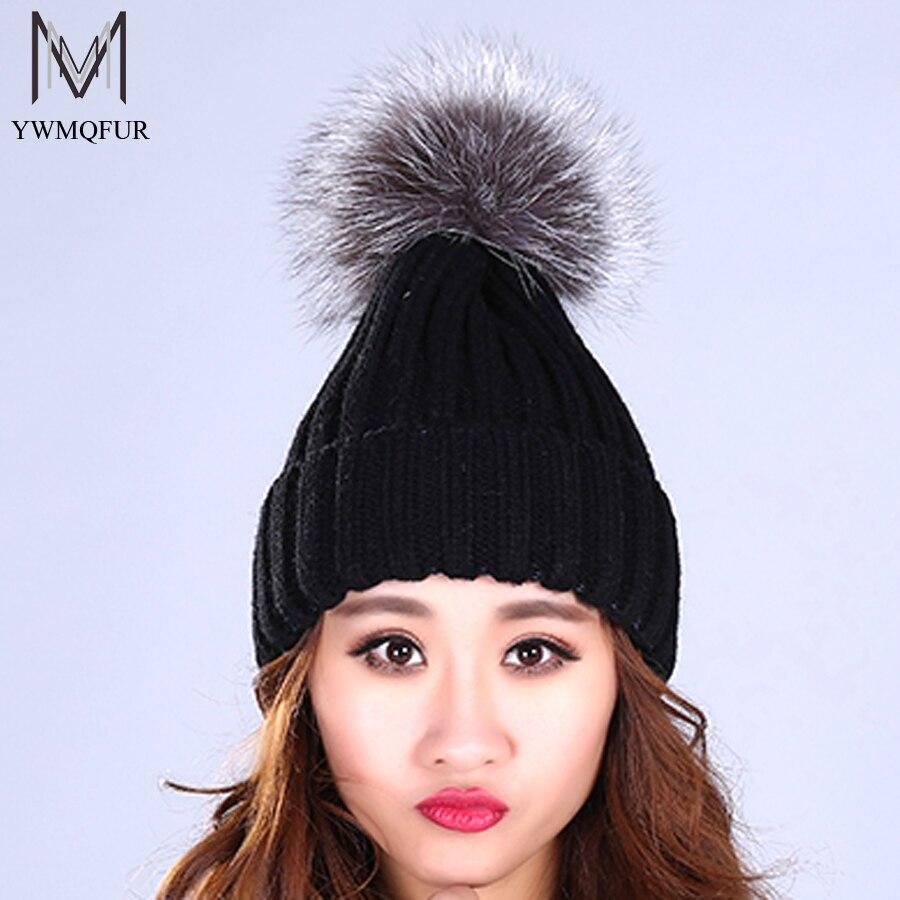 YWMQFUR Raccoon and fox fur ball cap pom poms winter hat for women girls hat knitted beanies cap brand new thick female cap H59 4pcs new for ball uff bes m18mg noc80b s04g