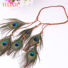 YULUCH Indian Feather Handmade Jewelry Peacock Hair Bands Zinc Alloy Inlaid Semi-precious Ethnic Women Hair Accessories Gifts(China)