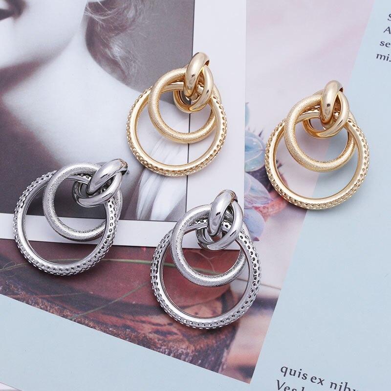 Fashion Women Gold Silver Earring Big Circle Geometric Dangle Drop Earrings LA