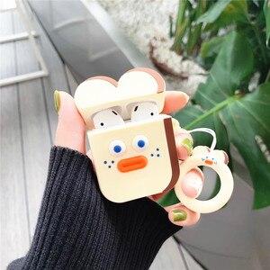 Image 5 - 3D Dễ Thương Brunch Anh Trai Xúc Xích Bánh Mì Nướng Vàng DUDU Vịt Airpods Silicone Rung 2 Bluetooth Không Dây Bao