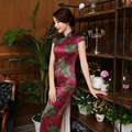 2016 Hot Sale gambiered Canton gauze long dress Silk Charming Women's Qipao Dress Evening Dress Cheongsam vintage chinese style
