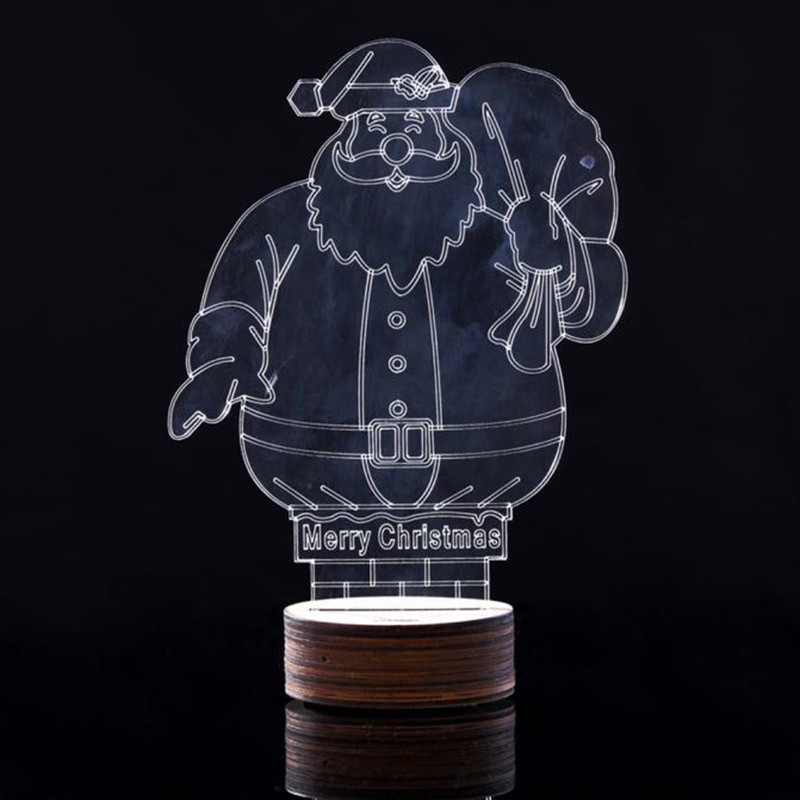 Santa Claus 3D Unique Lighting Effects Optical Illusion LED Table Lamp Christmas Table Decorations adornos de navidad para mesa