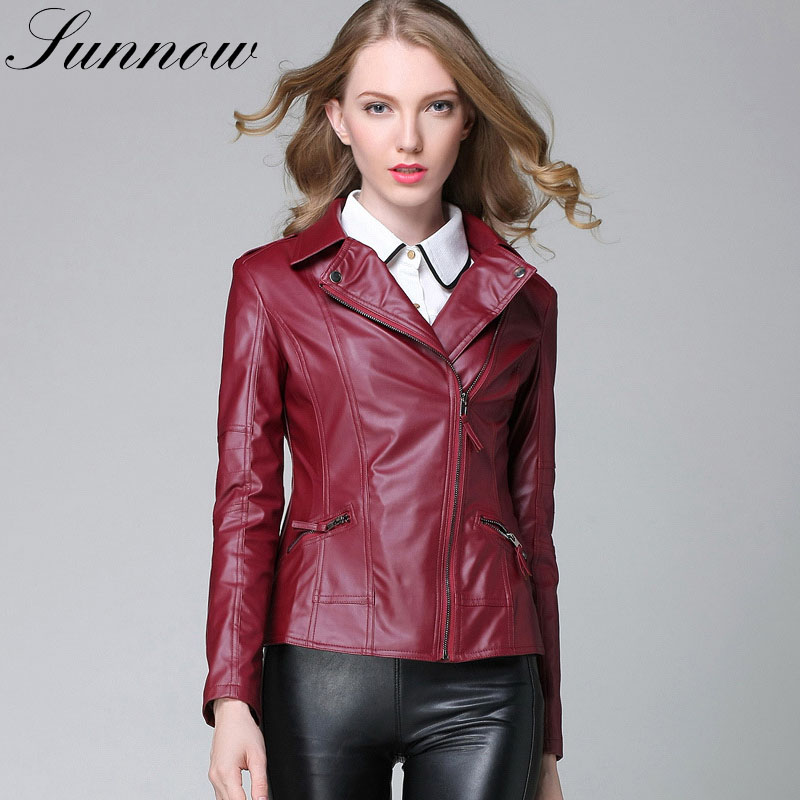 SUNNOW Women   Leather   Jackets Ladies Elegant Spring Autumn Motorcycle Black PU   Leather   Coat Women's Short Jackets Jaqueta Couro