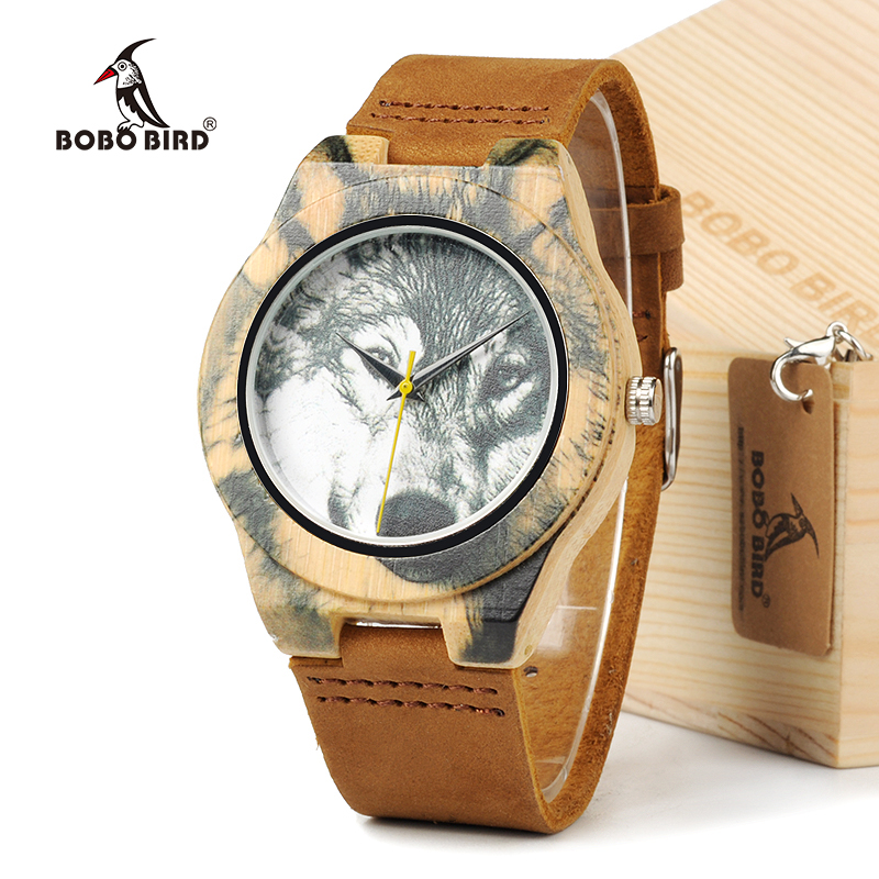 BOBO  BIRD New Fashion UV printing Wolf Bamboo Wooden Watches Genuine Brown Cow Leather Strap Quartz Analog Casual Wood Watches bobo bird brand new sun glasses men square wood oversized zebra wood sunglasses women with wooden box oculos 2017