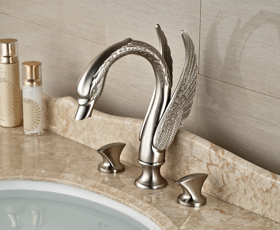 Brushed Nickel Faucet Waterfall Bathroom Spout Sink One: Surface Mounted 3pcs Bathroom Sink Faucet Swan Spout Dual