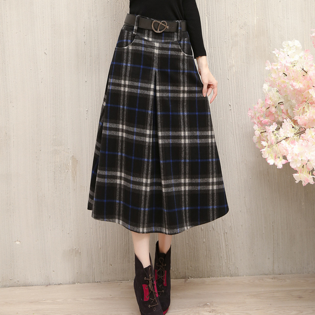 15ddcd3631 New Winter Nice Women s Wool Skirt Slim Hip Plaid Wool Skirt Fashion Retro  Faldas A-Line Long Skirts Plaid Saias Femininas C1211