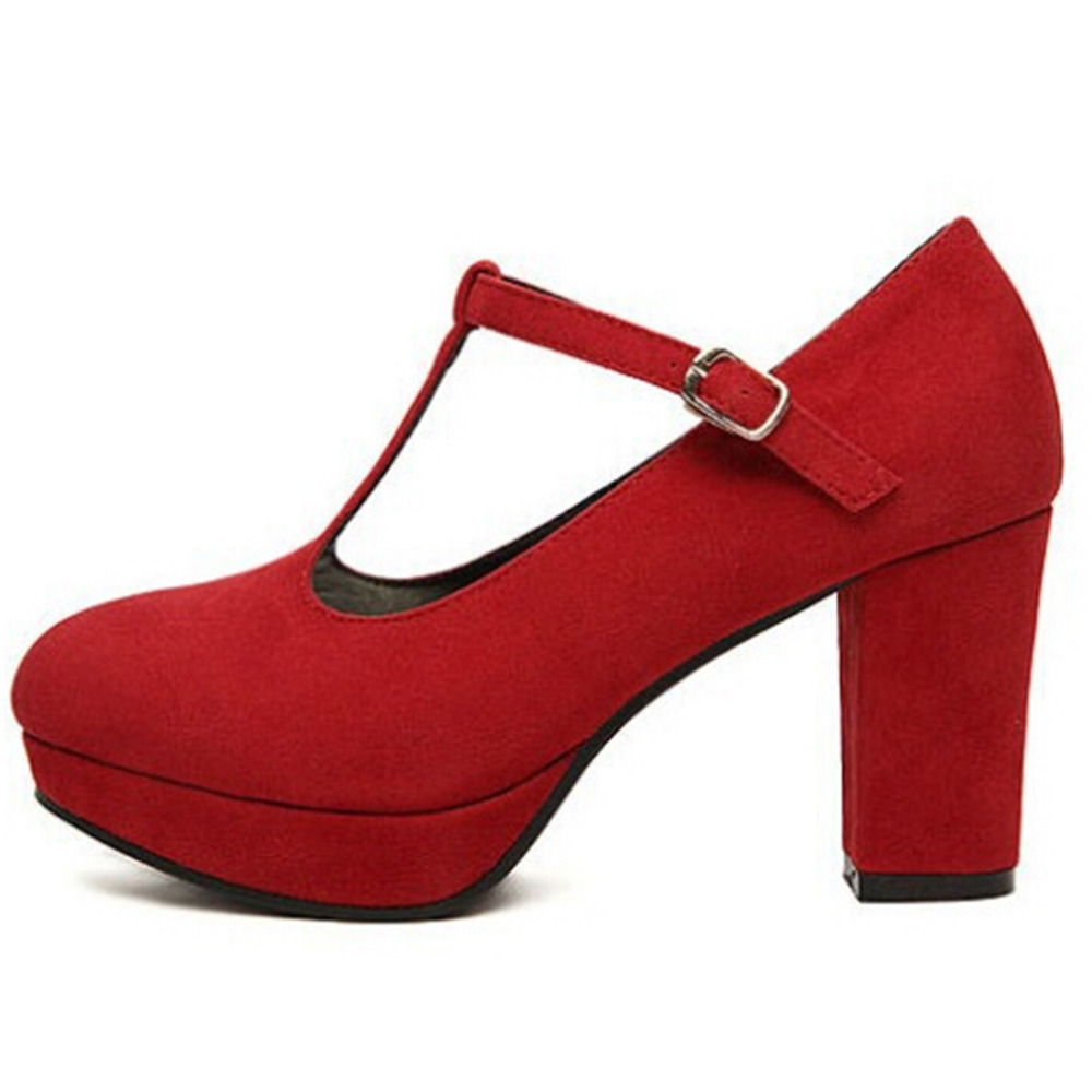f4ceb6d75 Free Shipping Women Suede Round Toe High Chunky Heels T Bar Retro Pump  Shoes 80513 red-in Women's Pumps from Shoes on Aliexpress.com | Alibaba  Group