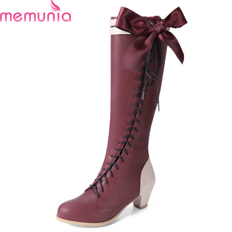 MEMUNIA 2018 wholesale big size 33-48 knee high boots women round toe pu fashion boots lace up square heels shoes autumn boots memunia big size 34 43 over the knee boots for women fashion shoes woman party pu platform boots zip high heels boots female