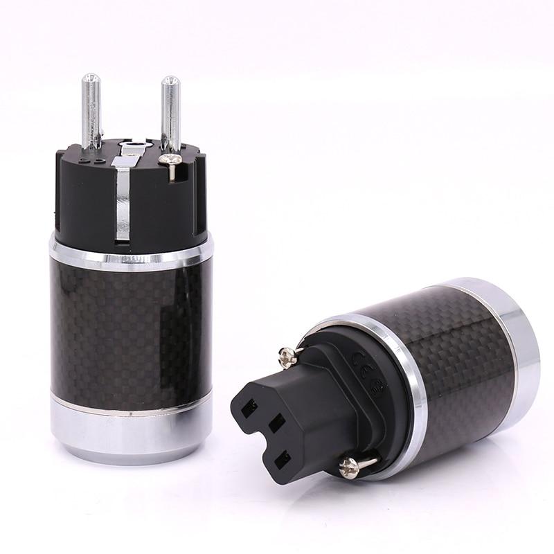 цена на High Quality 1pair EU Schuko Rhodium Plated Carbon Fiber AC Power Plug Connector +IEC connector for DIY Hifi power Cable