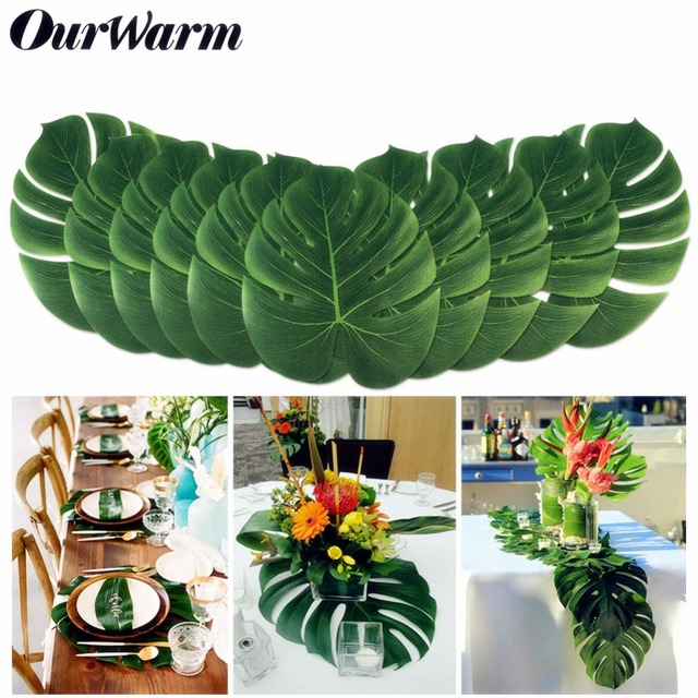 12pcs 35cm Hawaii Party Decoration Artificial Fake Palm Leaves Tableware Plant Garden Wedding Table Marriage Party Decoration
