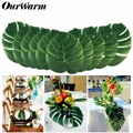 12pcs 35cm Hawaiian Luau Summer Party Artificial Fake Palm Leaves Plant Tableware Garden Carnival Wedding Party Table Decoration