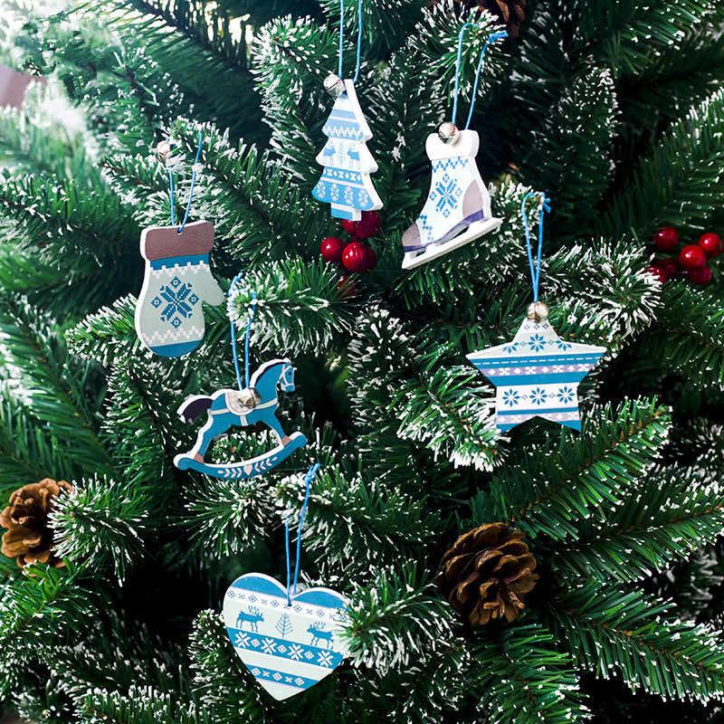3 قطعة/الحزمة الشمال نمط عيد الميلاد مبتكرة خشبية المنزل والمعيشة جرس القلب الحصان ديكور عيد الميلاد شجرة بطاقة خشبية قلادة