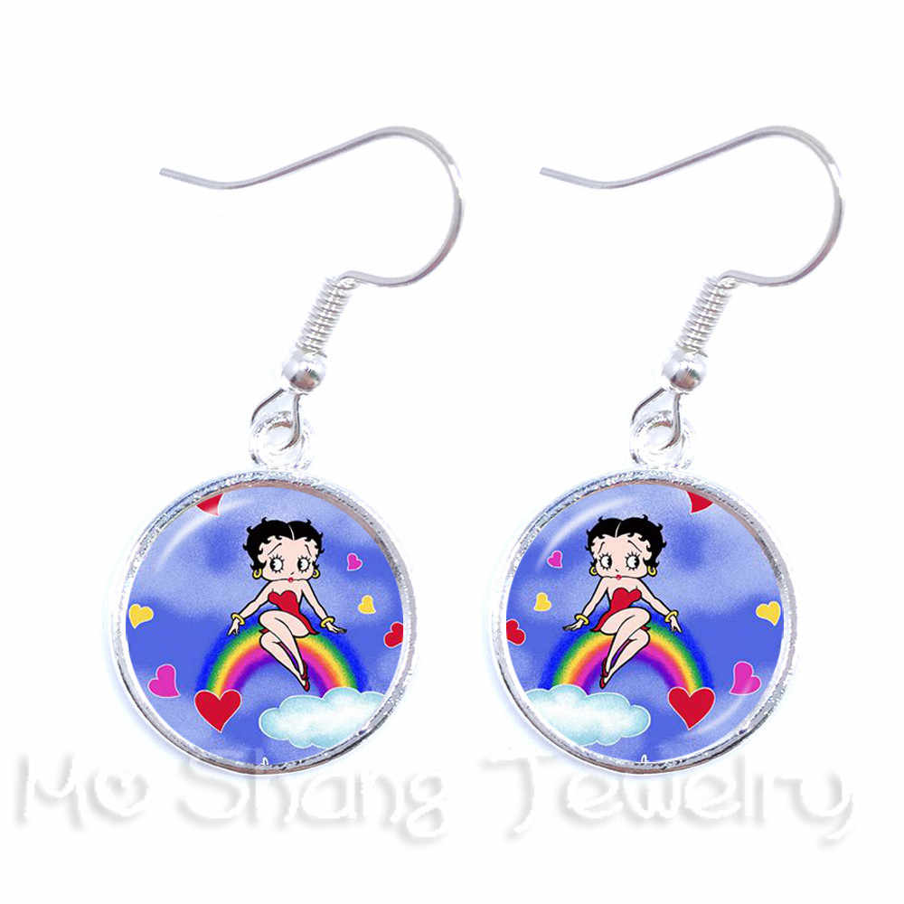 New Arrived Naughty Betty Boop Series Pattern 16mm Glass Dome Earrings DIY Charms Earrings For Women Girls Wonderful Funs Gift