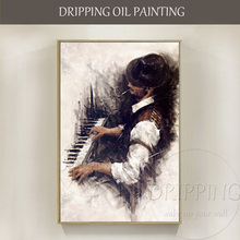 Hand-painted High Quality Handsome Man Playing Piano Oil Painting on Canvas Impressionist Art