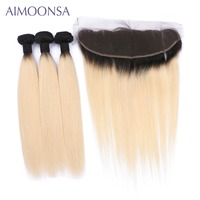 T1B/613 Blonde Frontal Ear To Ear Straight Human Hair Bundles with Closure Brazilian Color Hair Wefts Non Remy