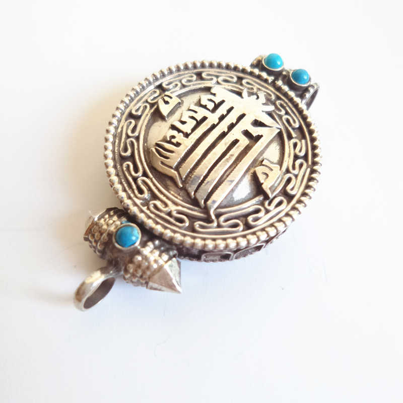 T9174 boîte de prière tibétaine Kalachakra népal 925 pendentifs en argent sterling amulette Tibet