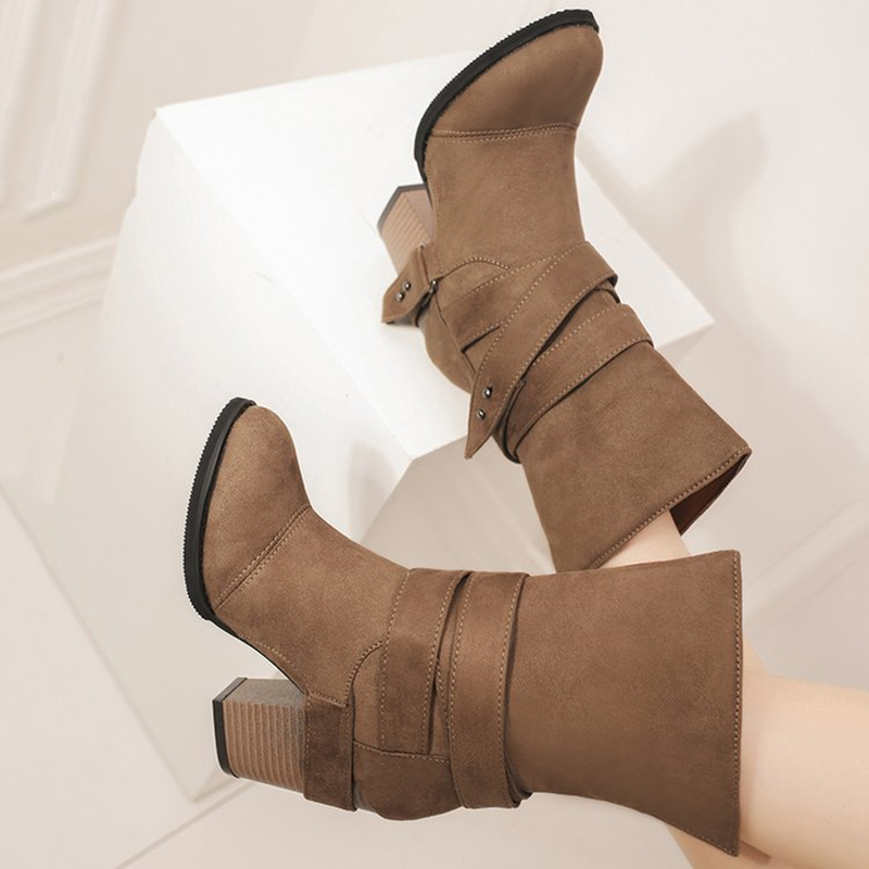 Ankle Boots Suede Leather Casual High Heels Fashion Square High Heels Khaki Shoes For Women Summer Boots Pumps Plus Size 34-43 enmayla autumn winter chelsea ankle boots for women faux suede square toe high heels shoes woman chunky heels boots khaki black