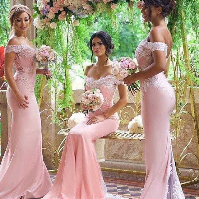 Pink Cheap   Bridesmaid     Dresses   2019 Off Shoulder Lace Appliques Mermaid   Bridesmaid     Dress   Sweep Train Wedding Guest   Dress