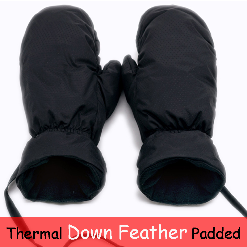 Down Feather Thermal Snowboard Ski Gloves Men Women Winter Warm Snow Mountain Skiing Snowmobile Mittens Kids Long Rope Hang