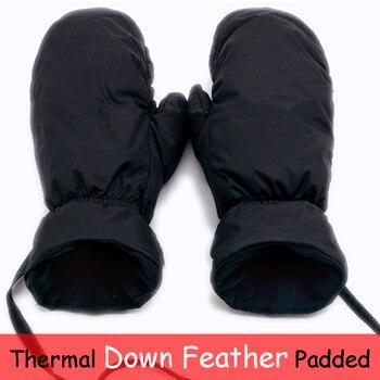 Пуховые теплые лыжные перчатки для сноуборда для мужчин и женщин, зимние теплые зимние лыжные варежки для катания на лыжах, снегоходах, детс...