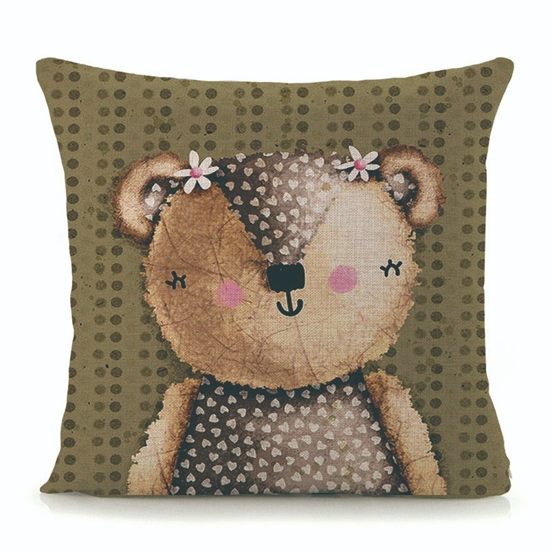 Kids Cartoon Animal Cushion Cover Bee Bear Throw Pillow Case home decorative pillow cover for sofa bed linen cushions 45x45cm