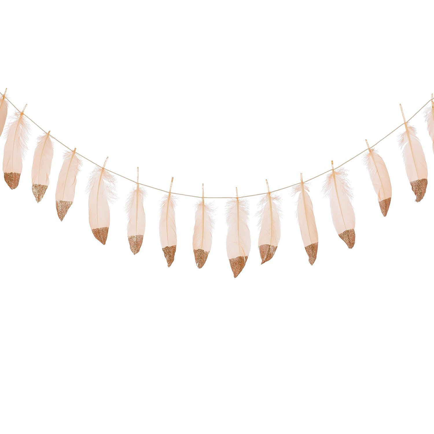 Banners For Bedrooms: Feather Garland Rose Gold Glitter Dipped Soft Feather