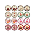 16pcs Round diy Glass Cabochon 12mm 20mm Cake and Ice Cream Picture Mixed Pattern Fit Base Earring Setting for Jewelry Flatback