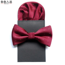 bow tie and handkerchief set ties for men paper hanky bowtie pocket square dot corbata