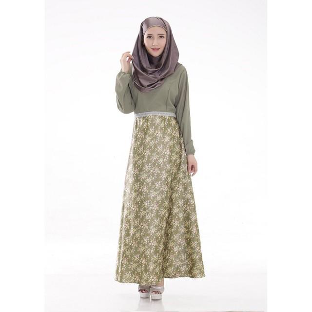 Mujeres Encuadre de cuerpo entero Árabe Jilbab Caftán Islámico Musulmán de Manga Larga Vestido Maxi Floral Desgaste