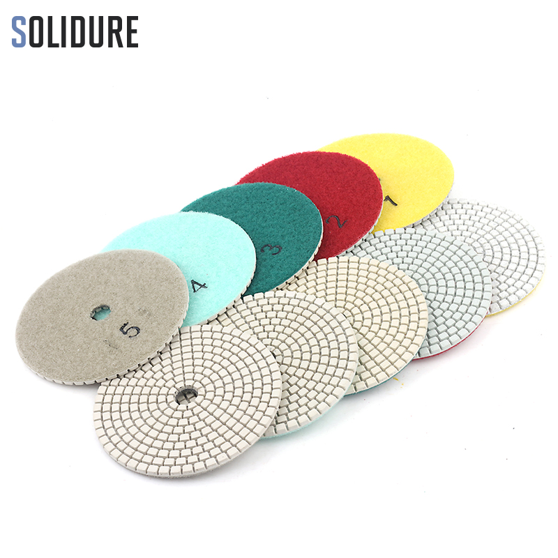 5pcs/set 4 Inch 100mm Diamond Dry Or Wet 5 Step Polishing Pads Granite Marble Or Concrete Polishing Tool