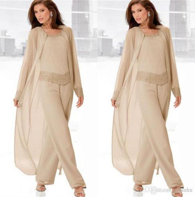 Vintage Champagne Three-Pieces Mother Suits Long Jackets Long Sleeves Pants Formal Wear vestido de festa de casamento