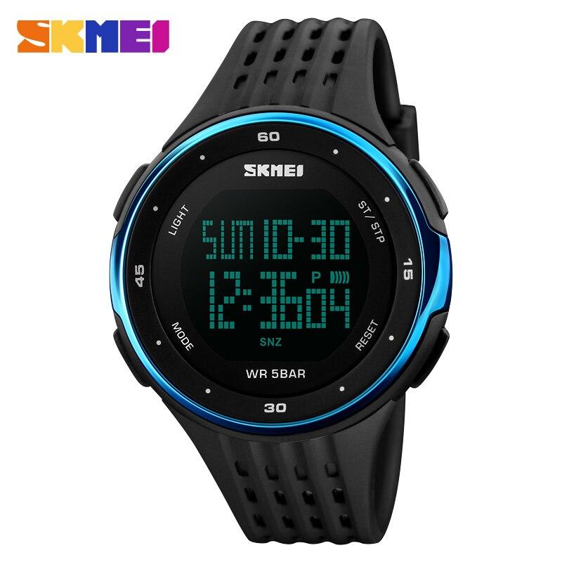 SKMEI 1219 relojes digitales hombres relojes deportivos al aire libre moda  cronógrafo reloj PU banda impermeable 6dc6ebff0577