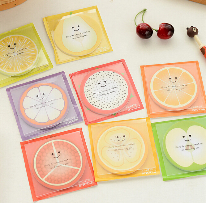 Wholesale 20Pack/Lot Novelty Fresh Fruit Memo Pad Self-Adhesive Sticky Notes Post It Bookmark School Gift Stationery H0029