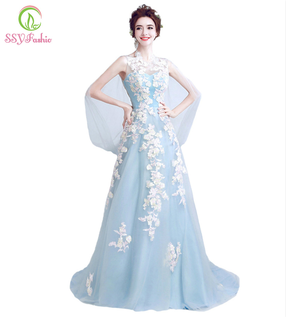 SSYFashion New Arrival Sweet Light Blue Lace Flower Mermaid Prom Dress The  Bride Banquet Sexy Slim Fishtail Evening Party Gown a6e088bab17e