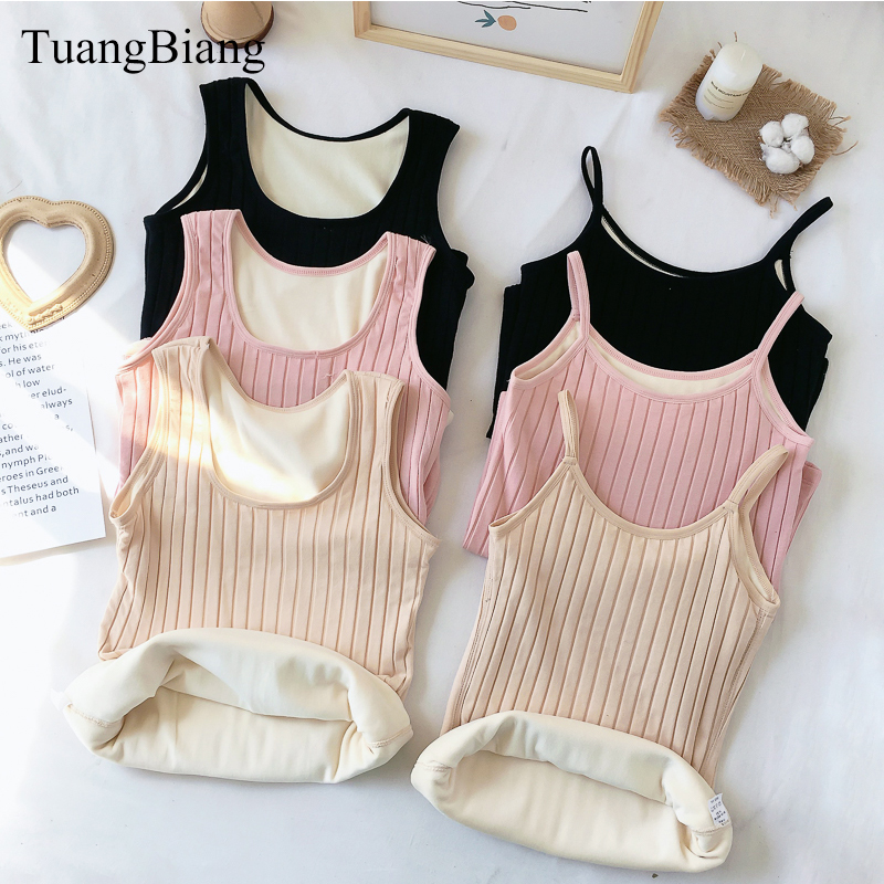 thick Crop Tops Women sleeveless Cropped Autumn Winter Camis velvet Blusa Thicken Slim Striped bottoming shirts Tank Tops 2018