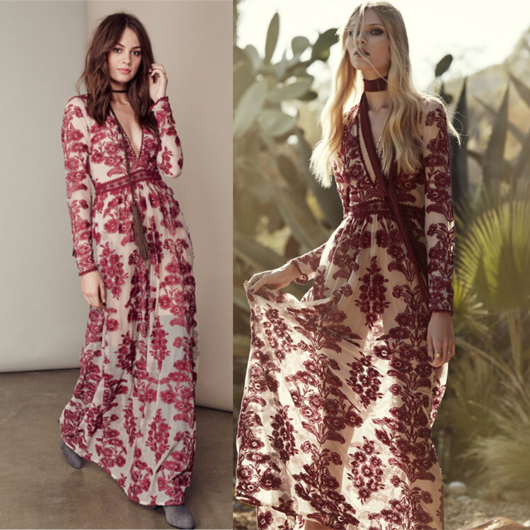 07020bc6951 Women Love Temecula Maxi Dress In Wine Floral Embroidered Mesh Maxidress  Summer See Through Deep V Neckline Sexy Beach dress-in Dresses from Women s  ...
