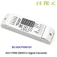 BC-834 4CH DMX512 led driver controller PWM 5V/PWM 10V signal Signal Converter 3-digital-display shows DC12V-DC24V
